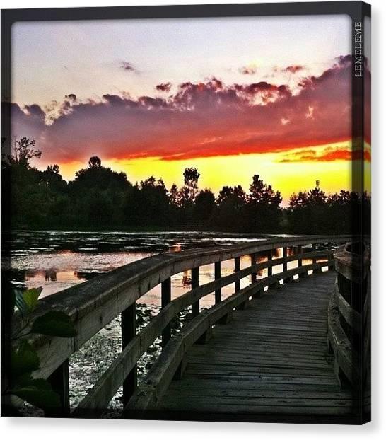 Wetlands Canvas Print - Sunset On A Bridge by Stefanie Roberts