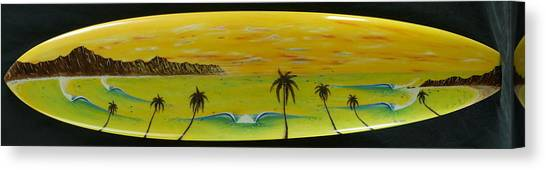 Sunset On A Surfboard Canvas Print