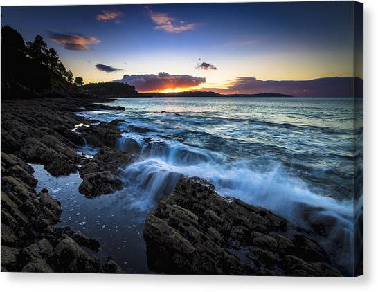 Sunset On Ber Beach Galicia Spain Canvas Print