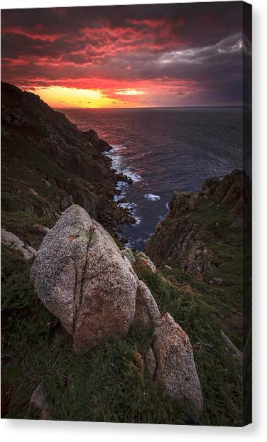 Sunset On Cape Prior Galicia Spain Canvas Print