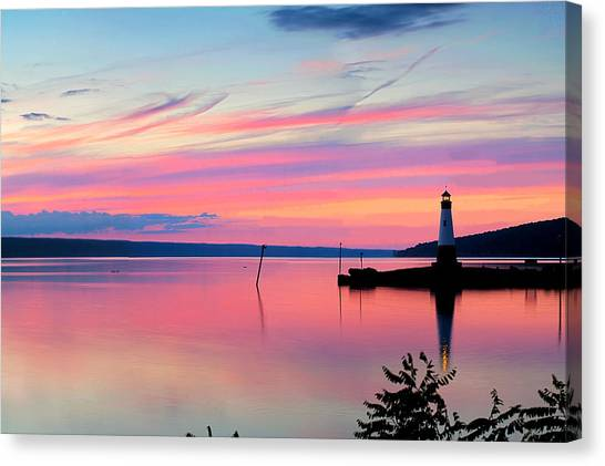 Cornell University Canvas Print - Sunset On Cayuga Lake Ithaca New York by Paul Ge