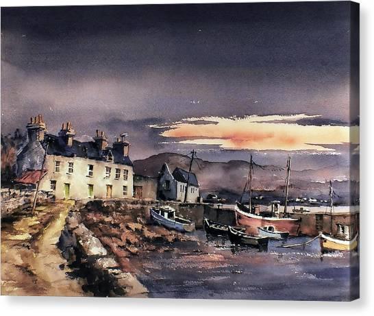 Sunset On Coraun Harbour Mayo Canvas Print