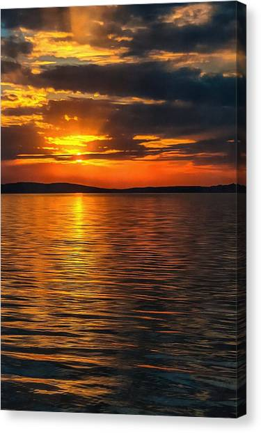 Sunset On Degray Lake Canvas Print