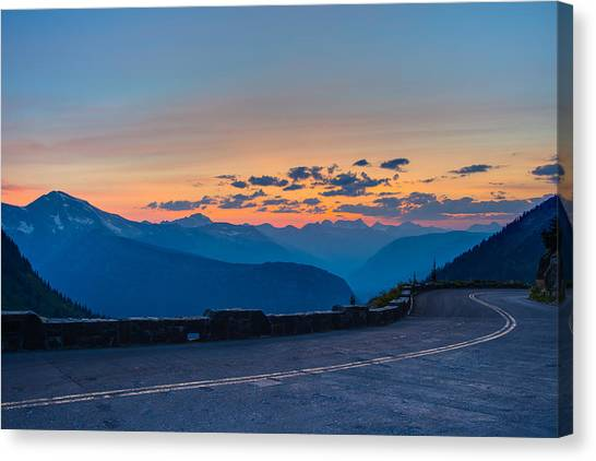 Sunset On Going-to-the-sun Road Canvas Print