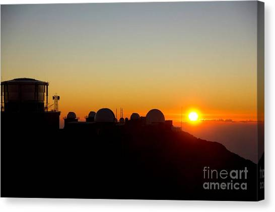 University Of Hawaii Canvas Print - Sunset On Haleakala Observatory by Nikki  Gray