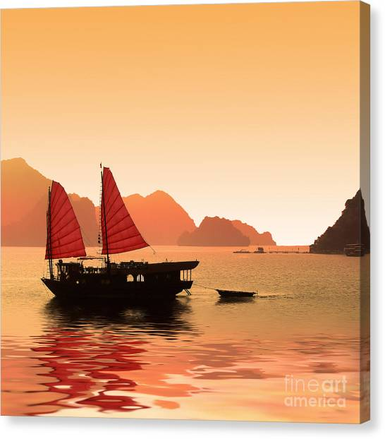 Tropical Sunset Canvas Print - Sunset On Halong Bay by Delphimages Photo Creations