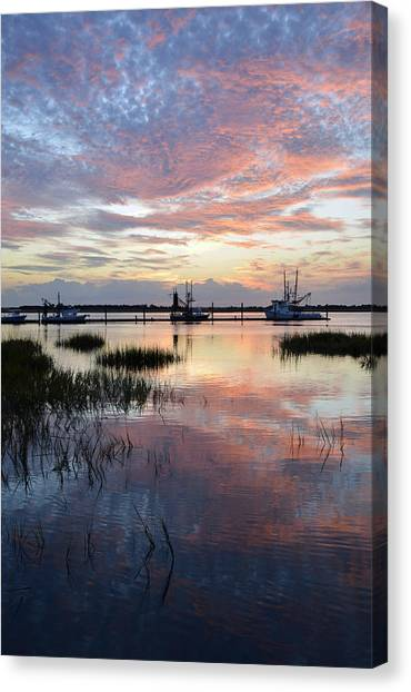 Sunset On Jekyll Island With Docked Boats Canvas Print