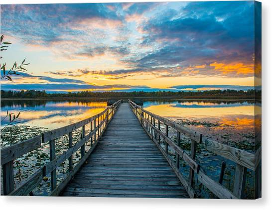 Sunset On Lake Sixteen Canvas Print