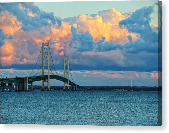 Sunset On Mackinac Bridge Canvas Print