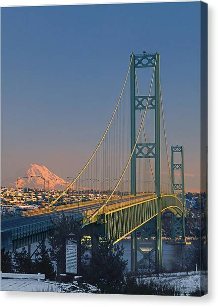 1a4y20-v-sunset On Rainier With The Tacoma Narrows Bridge Canvas Print