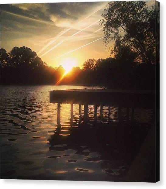 Lake Sunsets Canvas Print - Sunset On Scooter Lake #iphone5 by Scott Pellegrin