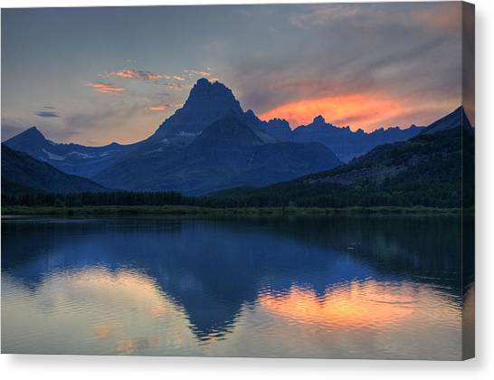 Sunset On Swiftcurrent Lake Canvas Print