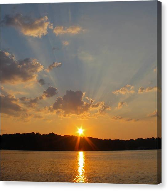 Lake Sunrises Canvas Print - Sunset On The Bay  by Justin Connor