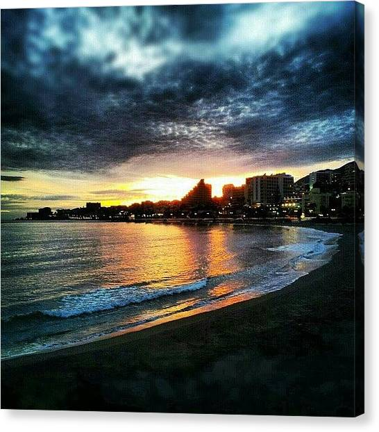 Ford Canvas Print - #sunset On The Beach In  #benalmádena by Alistair Ford
