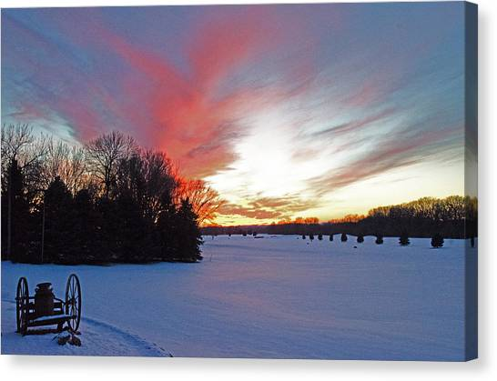 Sunset On The Golf Course Canvas Print by Dan  Meylor