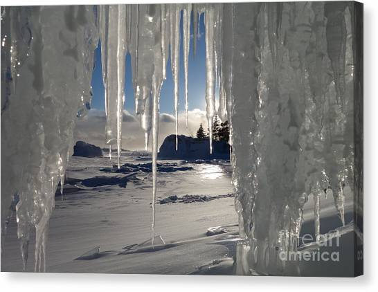 Sunset On The Icicles Canvas Print