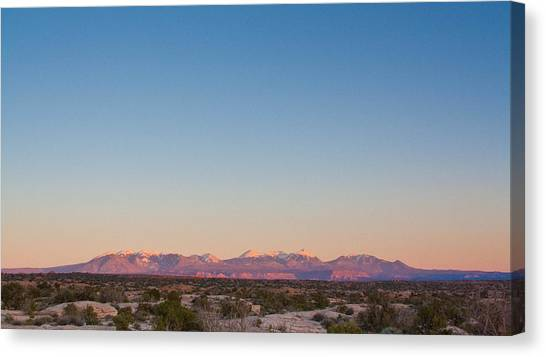 Sunset On The La Sal Mountains Canvas Print