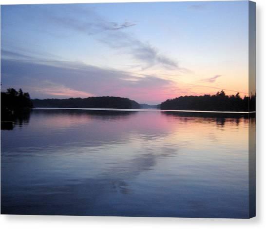 Sunset On The Lake 2 Canvas Print by Gaetano Salerno