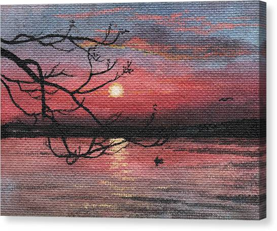 Sunset On The Lake Canvas Print