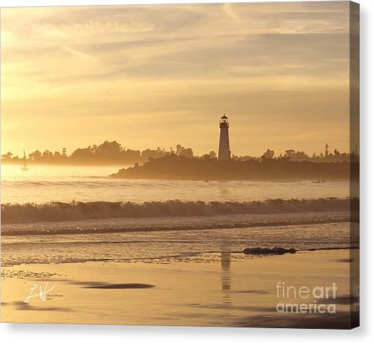 Sunset On The Lighthouse In Santa Cruz Harbor Canvas Print