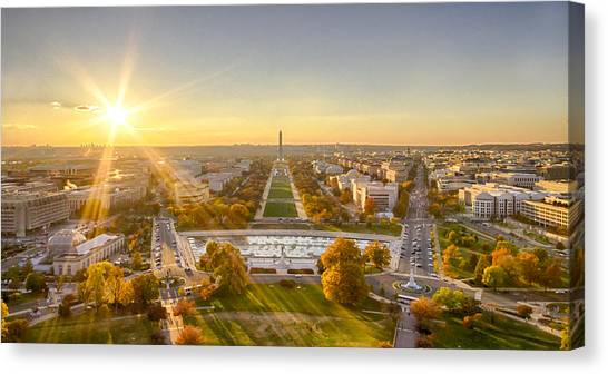 Sunset On The National Mall Canvas Print