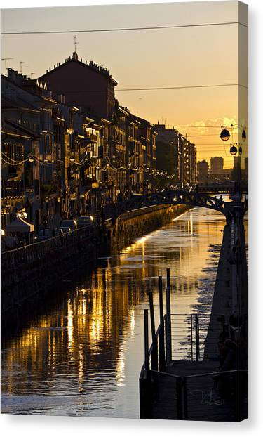 Sunset On The Navigli In Milan Canvas Print