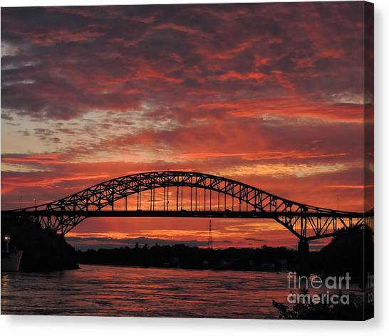 Sunset On The Piscataqua         Canvas Print