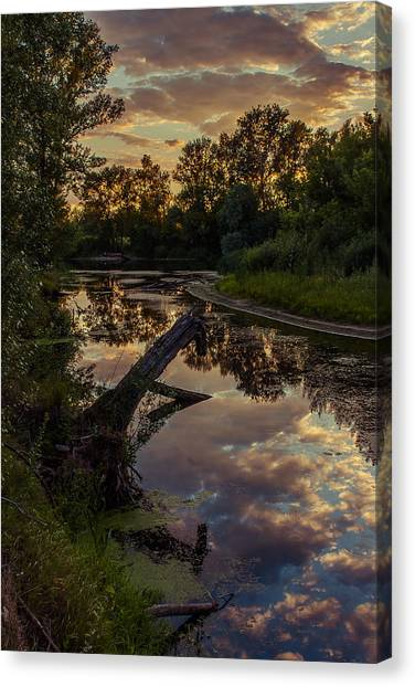 Sunset On The Quiet River Canvas Print