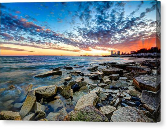 Sunset On The Rocks Canvas Print by Anna-Lee Cappaert