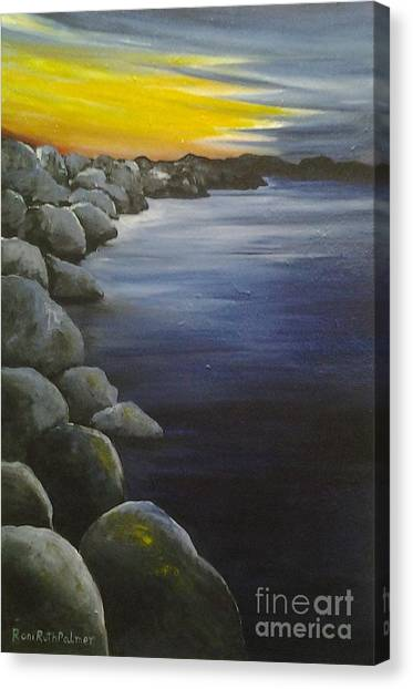 Sunset On The Rocks  Canvas Print by Roni Ruth Palmer
