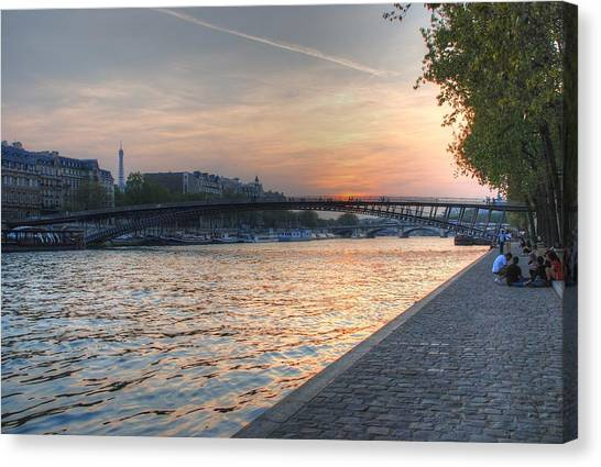 Sunset On The Seine Canvas Print