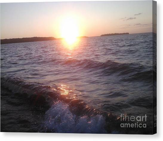Sunset On Waves Canvas Print