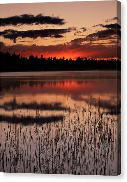 June Lake Canvas Print - Sunset Over A Lake by Bjorn Svensson/science Photo Library