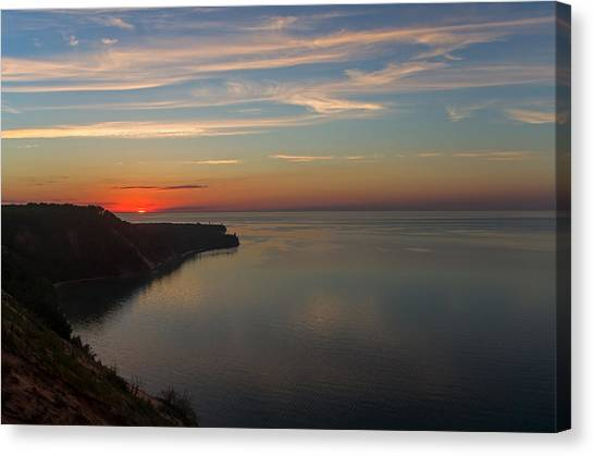 Sunset Over Ausable Point. Canvas Print