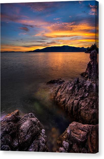 Vancouver Island Canvas Print - Sunset Over Bowen Island by Alexis Birkill