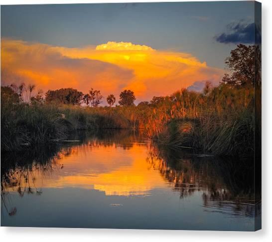 Sunset Over Camp Sandibe Canvas Print