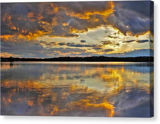 Sunset Over Canobie Lake Canvas Print