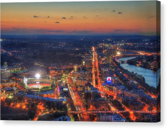 Fenway Park Canvas Print - Sunset Over Fenway Park And The Citgo Sign by Joann Vitali
