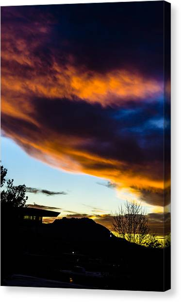 Sunset Over Granite Mountain And Ac1 Canvas Print