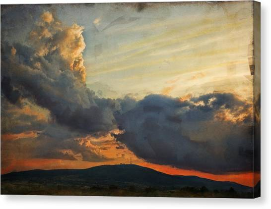 Sunset Over Holy Cross Mountains Canvas Print by Anna Gora