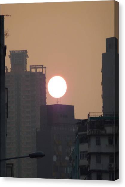 Hong Kong Canvas Print - sunset over Hong Kong city by Catherine Laydon