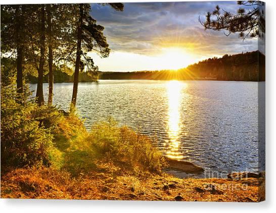 Lake Sunrises Canvas Print - Sunset Over Lake by Elena Elisseeva