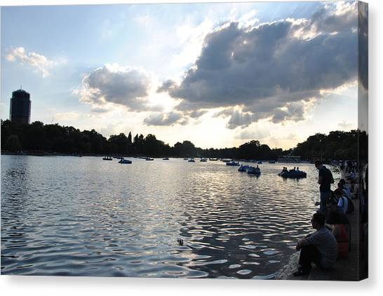 Hyde Park Canvas Print - Sunset Over London by Charlyne Dhenin