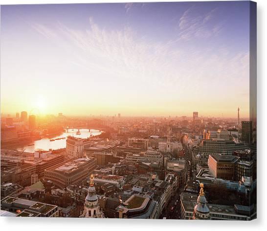 Sunset Over London City Canvas Print by Shomos Uddin