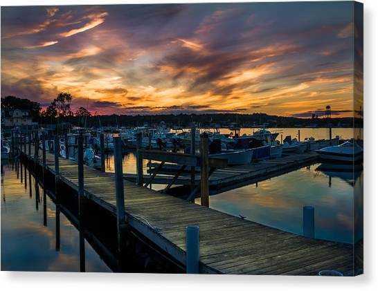 Sunset Over Marina On Mystic River Canvas Print