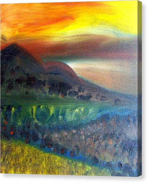 Sunset Over Mountains  Canvas Print by Michaela Kraemer