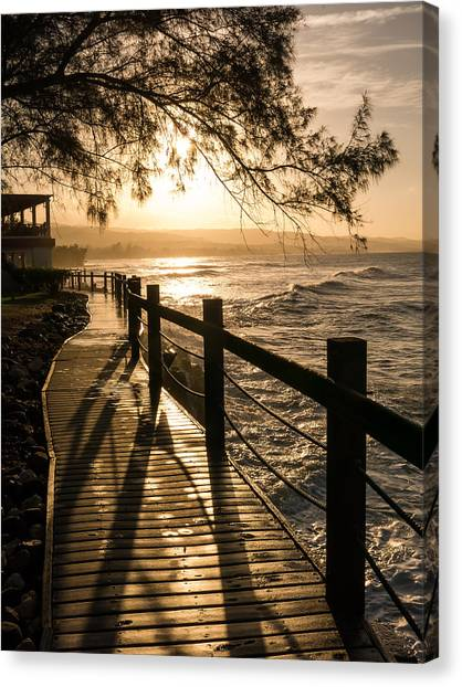 Sunset Over Ocean Walkway Canvas Print