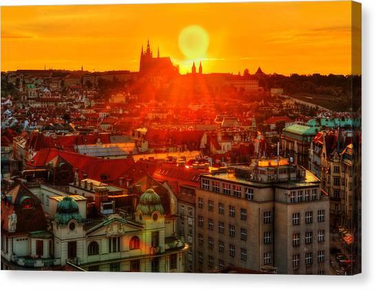Sunset Over Prague Canvas Print