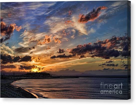 Crete Canvas Print - Sunset Over Rethymno Crete by David Smith