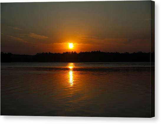Sunset Over Rice Lake Canvas Print by James Hammen